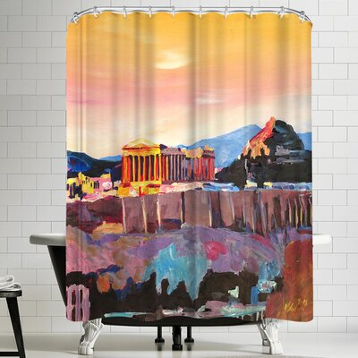 M Bleichner Athens Greece Akropolis At Sunset Neu Shower Curtain