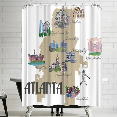 M Bleichner Atlanta Georgia Favorite Map With Touristic Highlights Shower Curtain