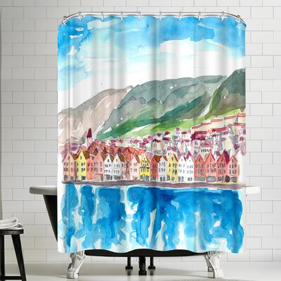 M Bleichner Bergen Norway Old Bryggen Harbour Seafront Shower Curtain