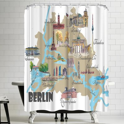 M Bleichner Berlin Favorite Map With Touristic Highlights Shower Curtain