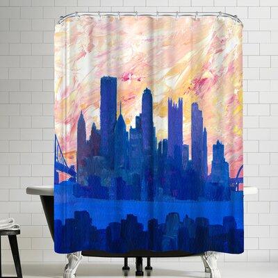 M Bleichner Portland Oregon Skyline Shower Curtain