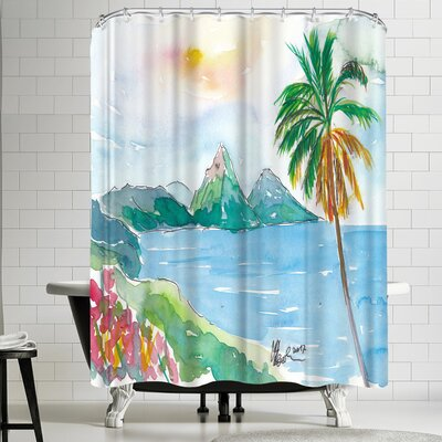 M Bleichner St Lucia Caribbean Dreams With Sunset And Pitons Peaks Shower Curtain