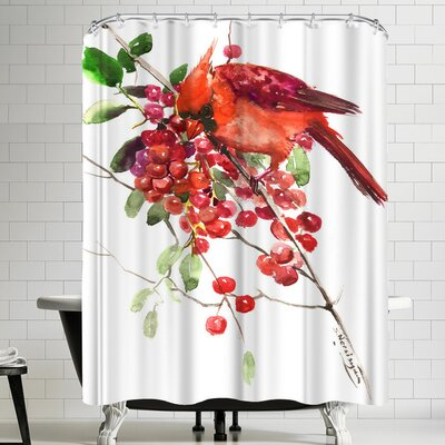 Suren Nersisyan Cardinal And Berries Shower Curtain