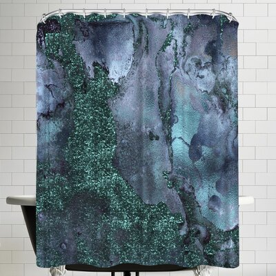 Grab My Art Abstract Malachite Gemstone Blue And Green Marble Shower Curtain