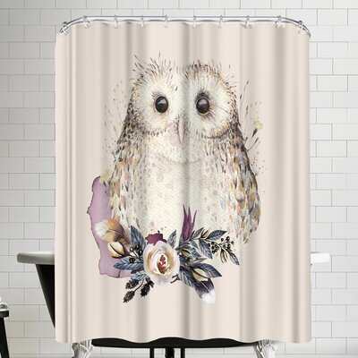Grab My Art Boho Flower And Owl Shower Curtain