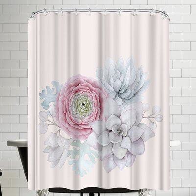Grab My Art Boho Flower And Succulent Shower Curtain
