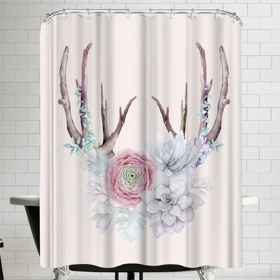 Grab My Art Antlers And Flower Shower Curtain