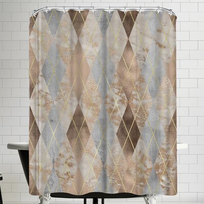 Grab My Art Chic Rose Gold Marble Copper Argyle Shower Curtain