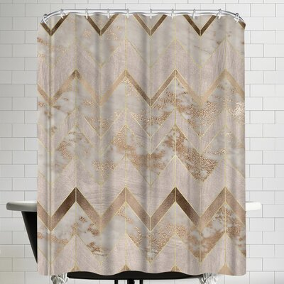 Grab My Art Chic Rose Gold Marble Copper Chevron Shower Curtain