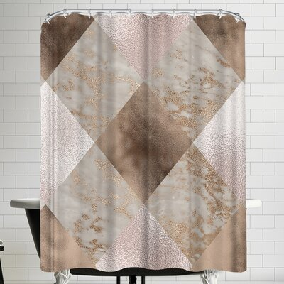 Grab My Art Chic Rose Gold Marble Copper Shower Curtain