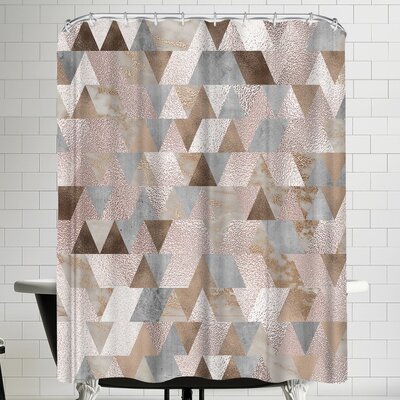 Grab My Art Chic Rose Gold Marble Copper Triangle Shower Curtain