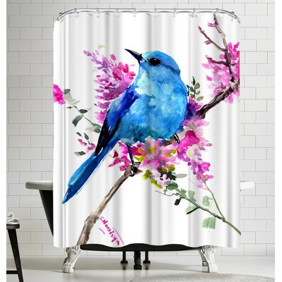 Suren Nersisyan Mountain Bluebird And Spring Flowers Shower Curtain