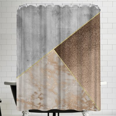 Grab My Art Chic Rose Gold Marble Copper Triangles Shower Curtain