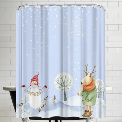 Grab My Art Deer And Snowman In Snowy Winterforest With Little Birds Shower Curtain
