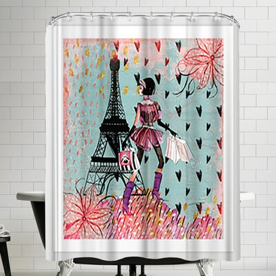Grab My Art Fashion Girl In Paris Shopping At The Eiffel Tower Shower Curtain