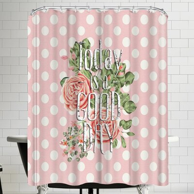 Grab My Art Good Day Dots And Typography For Girls Shower Curtain