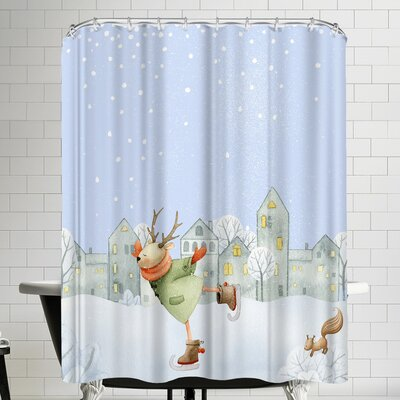 Grab My Art Ice Skating Deer In Winter And Snow Is Falling Shower Curtain