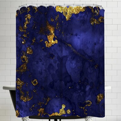 Grab My Art Luxury Blue Malachite Gold Gem Agate And Marble Texture Shower Curtain