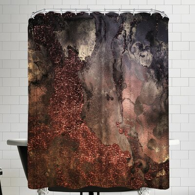 Grab My Art Luxury Copper And Bronze Glitter Gold Gem Agate And Marble Texture Shower Curtain