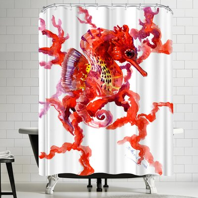 Suren Nersisyan Seahorse Coral Red Shower Curtain