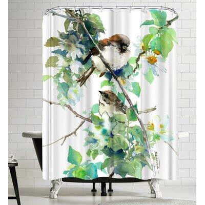 Suren Nersisyan Sparrow Spring Blossom Shower Curtain