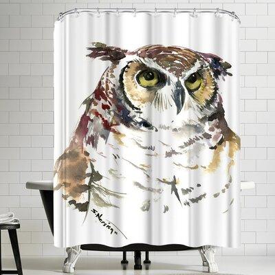 Suren Nersisyan Horned Owl Face Shower Curtain
