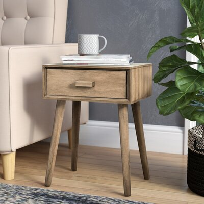 Audrick End Table With Storage Color: Dessert Brown