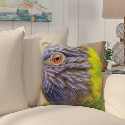 Pratincole Colorful Parrot Close Up Throw Pillow