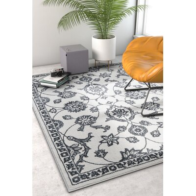 Hunsicker Stupendous Floral Oriental Soft Light Gray Area Rug Rug Size: Rectangle 53 x 73
