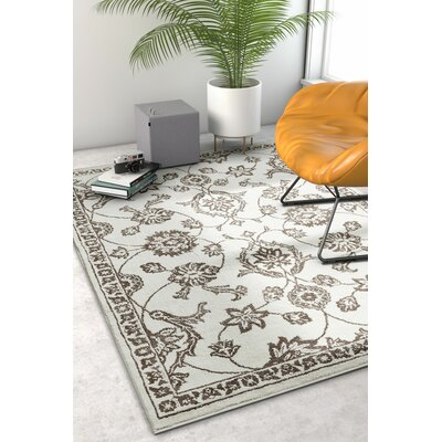 Hunsicker Stupendous Floral Oriental Soft Beige Area Rug Rug Size: Rectangle 53 x 73
