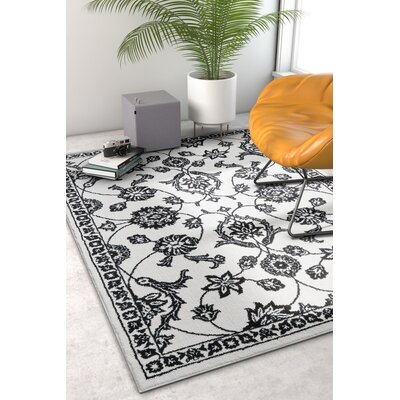 Hunsicker Stupendous Floral Oriental Soft Black Area Rug Rug Size: Rectangle 710 x 910