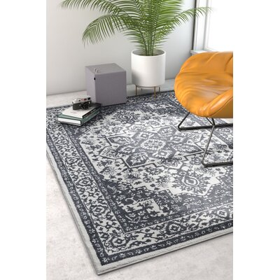 Hunsicker Dazzling Southwestern Medallion Transitional Soft Light Gray Area Rug Rug Size: Rectangle 53 x 73
