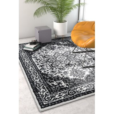 Hunsicker Dazzling Southwestern Medallion Transitional Soft Black Area Rug Rug Size: Rectangle 53 x 73
