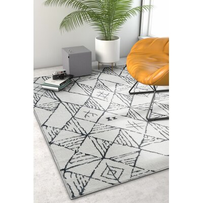 Peebles Magnificent Moroccan Trellis Geometric Mid-Century Soft Gray Area Rug Rug Size: Rectangle 53 x 73