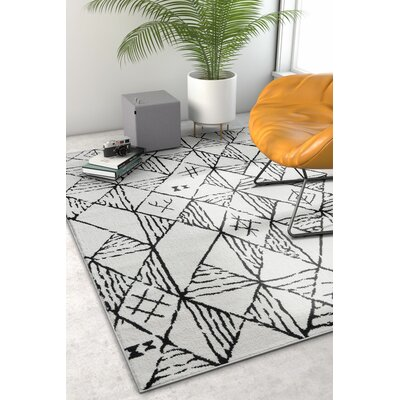 Peebles Magnificent Moroccan Trellis Geometric Mid-Century Soft Black Area Rug Rug Size: Rectangle 710 x 910