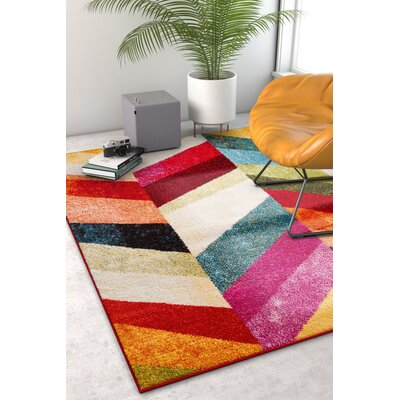 Holzman Marcy Geometric Zigzag Chevron Bright Kids Red Area Rug Rug Size: Rectangle 710 x 106