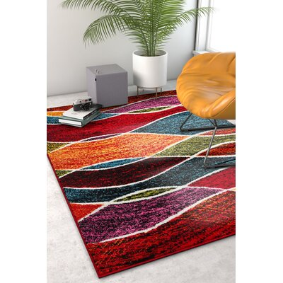 Crew Park Tribal Waves Red Area Rug Rug Size: Rectangle 33 x 5