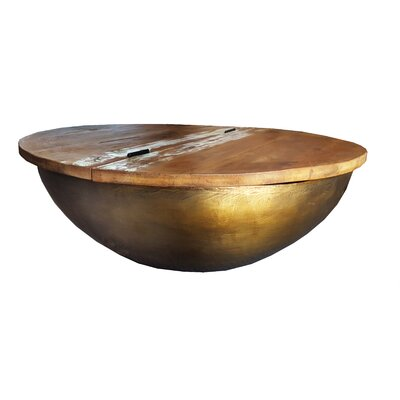 Raimondo Coffee Table with Storage Color: Bronze/Gold, Size: 34 H x 34 W x 12 D