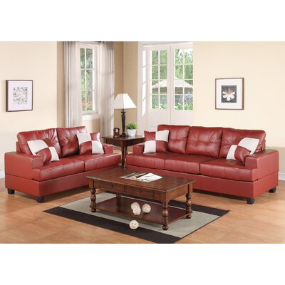 Marro 2 Piece Living Room Set Upholstery: Burgundy