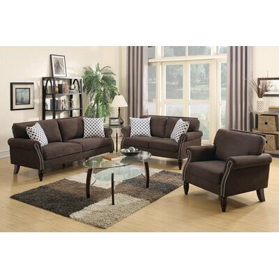 Izzo 2 Piece Living Room Set Upholstery: Dark Brown