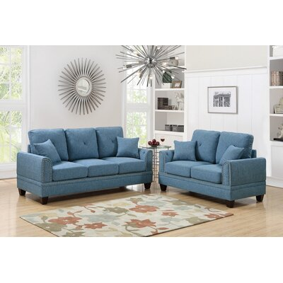 Marrone 2 Piece Living Room Set Upholstery: Blue