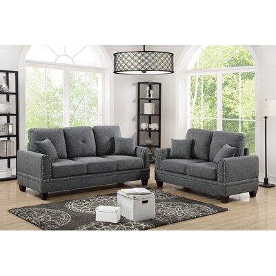 Marrone 2 Piece Living Room Set Upholstery: Ash Black