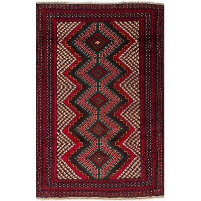 One-of-a-Kind Whelchel Royal Baluch Hand-Woven Wool Red Area Rug