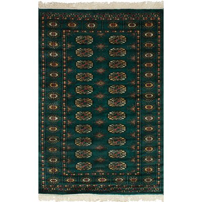 One-of-a-Kind Whetsel Peshawar Bokhara Hand-Woven Wool Dark Green Area Rug