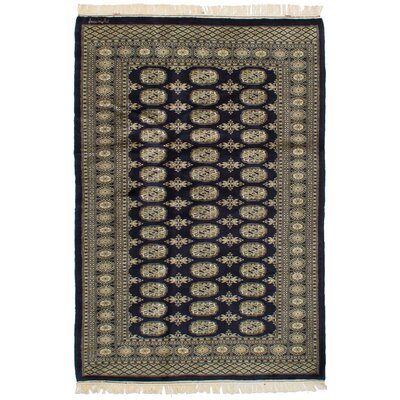 One-of-a-Kind Whetzel Finest Peshawar Bokhara Hand-Woven Wool Dark Navy Area Rug