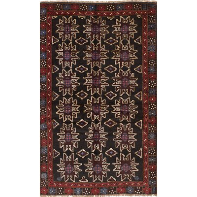 One-of-a-Kind Hollaway Hand-Woven Wool Black/Dark Red Area Rug
