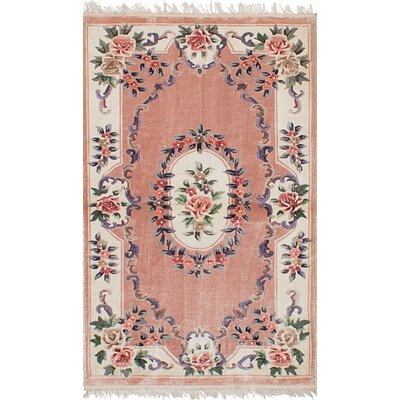 One-of-a-Kind Roberto Aubusson Hand-Woven Silk Pink Area Rug