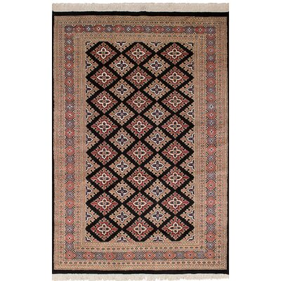 One-of-a-Kind Whipkey Peshawar Bokhara Hand-Woven Wool Black/Tan Area Rug