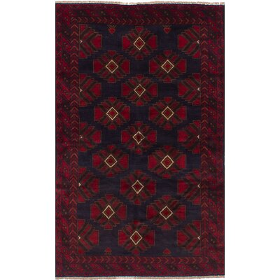One-of-a-Kind Hollaway Hand-Woven Wool Dark Navy/Red Area Rug