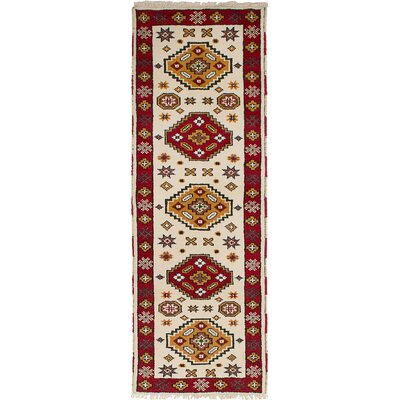 One-of-a-Kind Olden Hand-Woven Wool Cream Area Rug